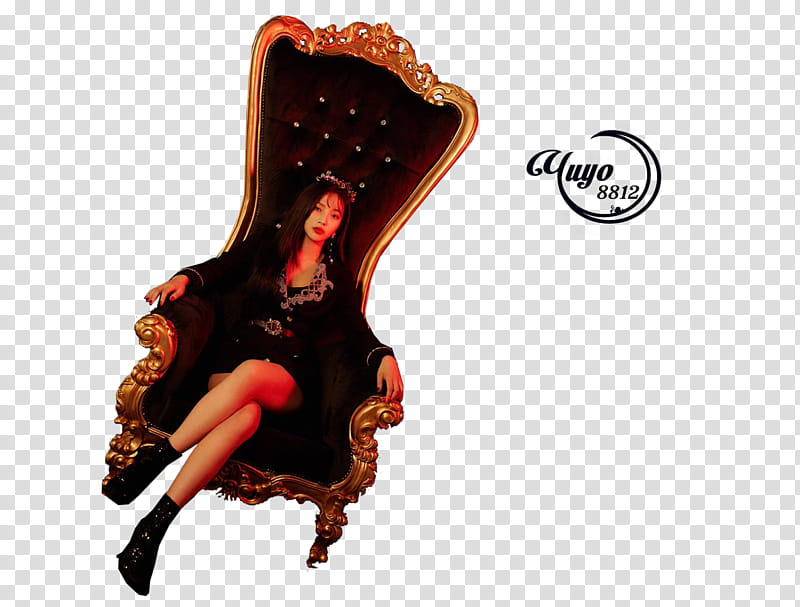 RED VELVET RBB, woman in black sits on arm chair with legs.