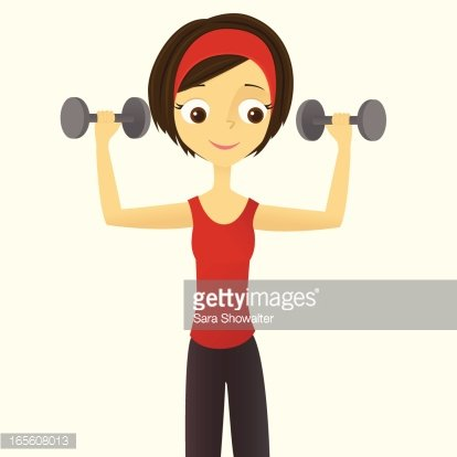 Woman Lifting Weights Clipart Image.
