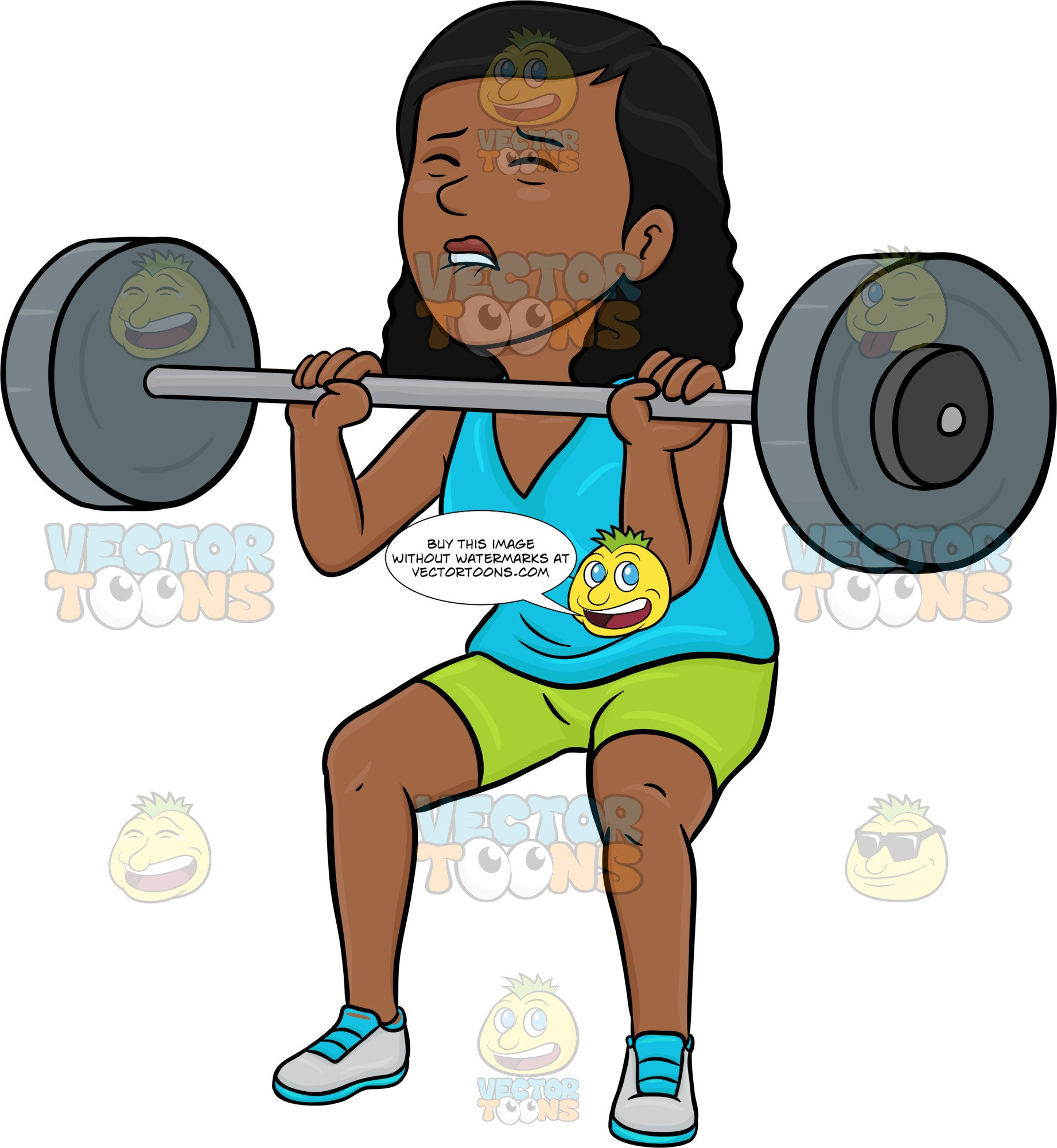 A Dark Haired Woman Lifting A Heavy Barbell.