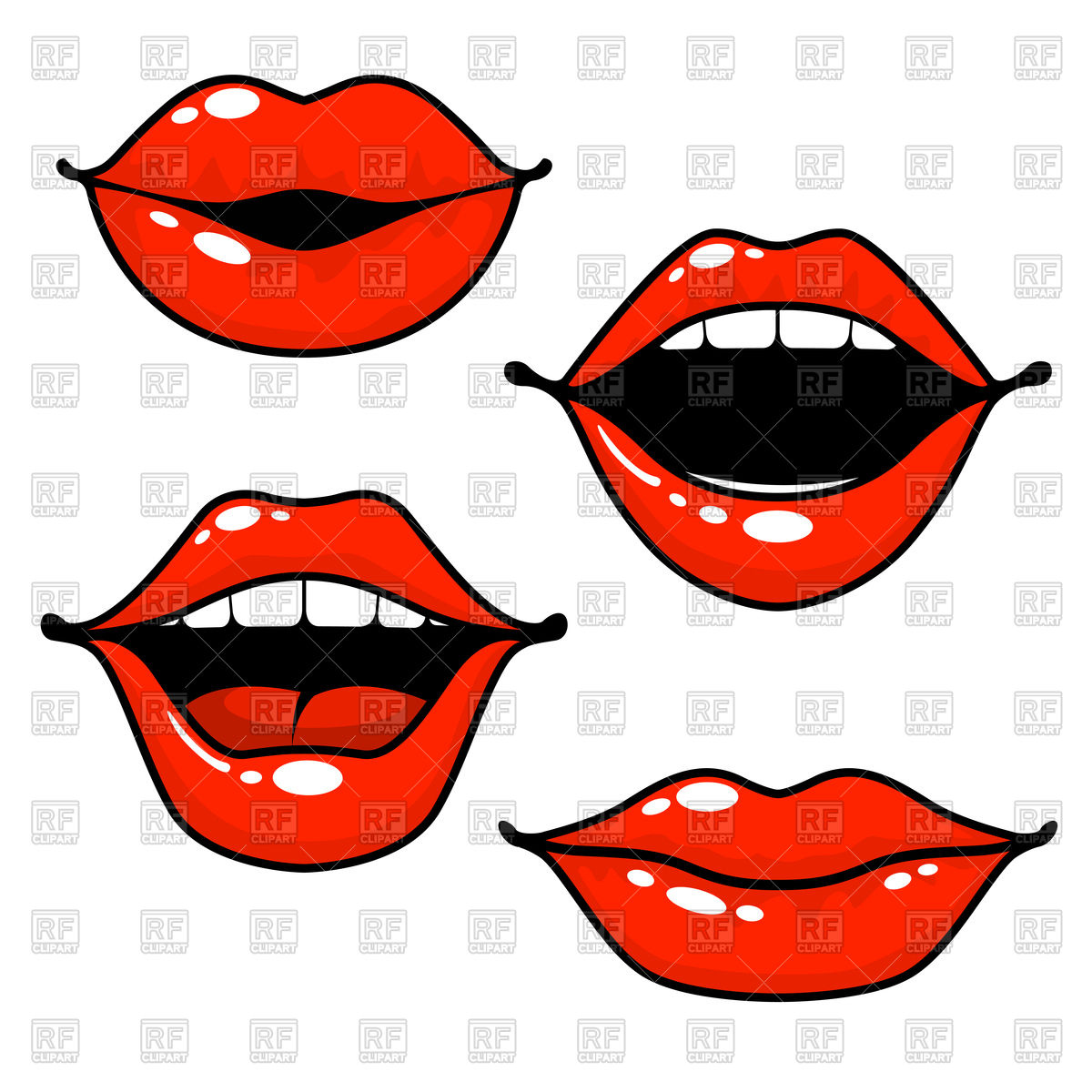 Woman lips emotions Stock Vector Image.
