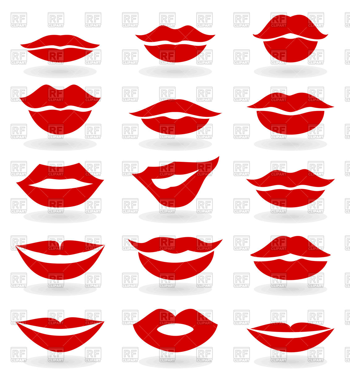 Set of red girl lips Stock Vector Image.