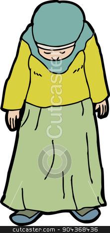 Depressed Muslim Woman stock vector.