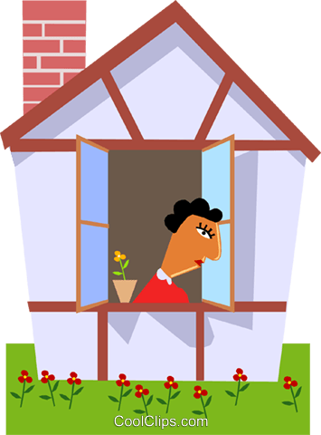Woman looking out the window Royalty Free Vector Clip Art.