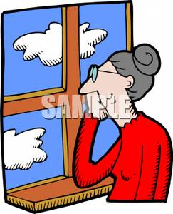 An Older Woman Looking Out Of A Window At Clouds.