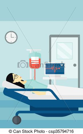 Vector Clip Art of Patient lying in hospital bed..