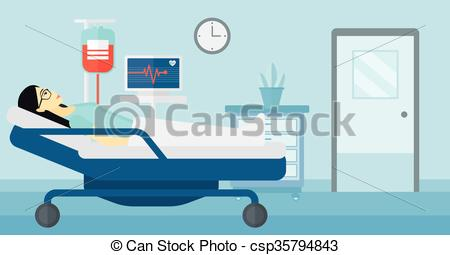 EPS Vector of Patient lying in hospital bed..