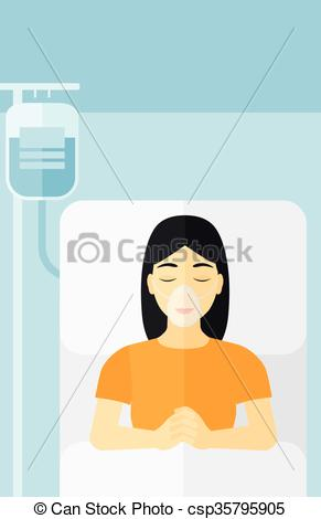 Vector Clipart of Patient lying in hospital bed..