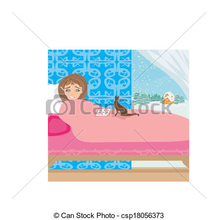 Vectors Illustration of sick girl lying in bed.