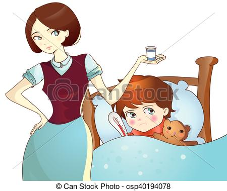 Vectors Illustration of Sick child lying in bed and mother with.