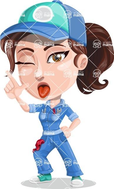 Handy Mechanic Woman Cartoon Vector Character Set / Making a.