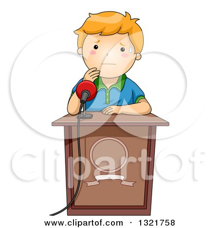 Clipart of a Sweating Woman Nervous About Giving a Speech.