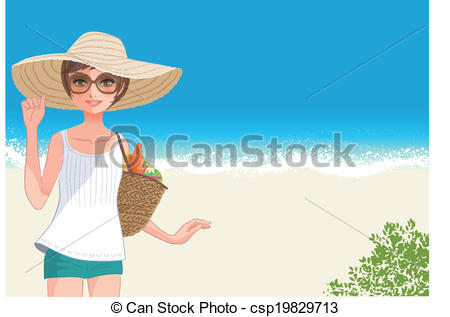Vector Clip Art of Cute young woman in straw wide brimmed hat.