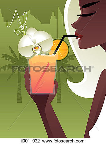 Clip Art of Woman drinking cocktail using drinking straw il001_032.