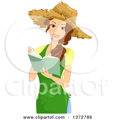 Gardener with straw hat clipart.