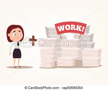Worry angry woman office worker character has lot of work and too busy.  Vector flat cartoon illustration.
