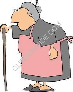 Clipart of Old Woman With A Cane.