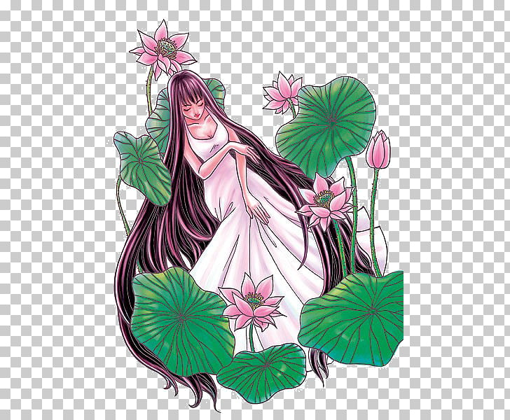 Cartoon Floral design Illustration, Cartoon lotus woman PNG.