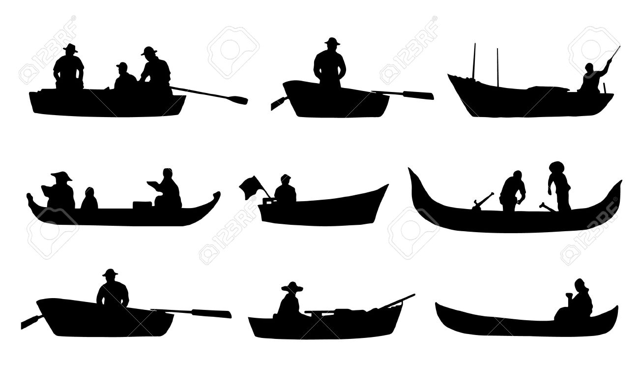 Fishing From Boat Silhouette Clipart.
