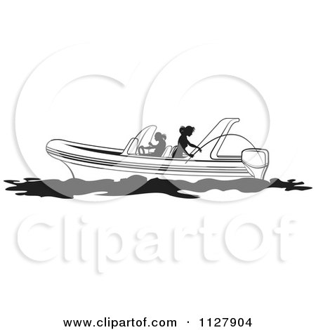 Clipart of a Black and White Fly Fishing Lure and Hook.