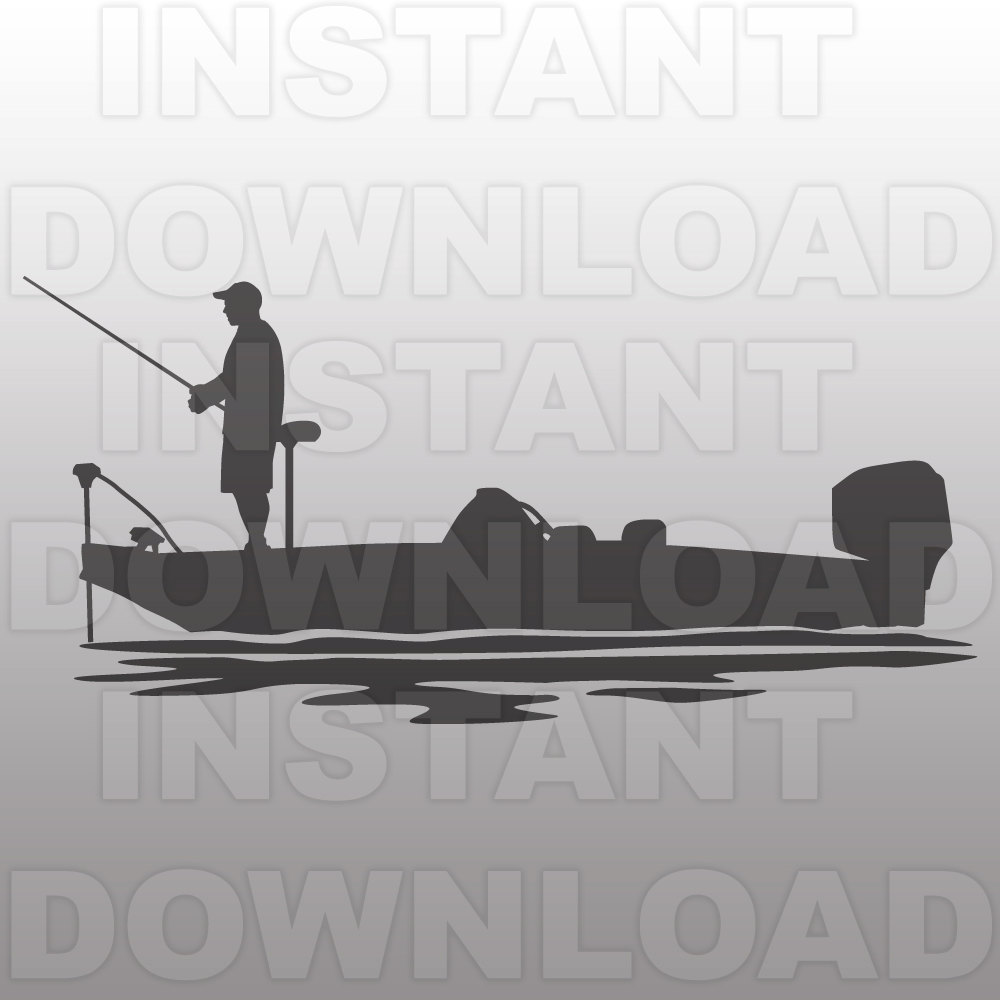 Woman On Bass Boat Vector Clipart.
