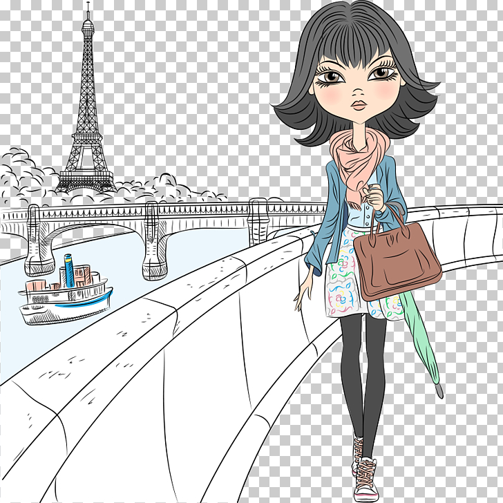 Eiffel Tower Drawing Girl , girl walking bridge, black.