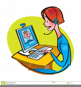 Woman At Computer Clipart.