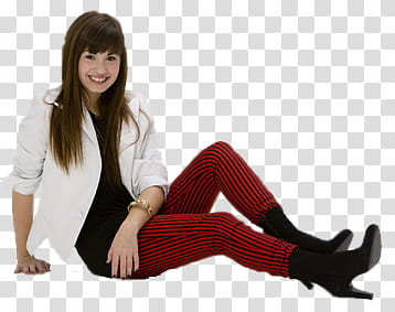 Demi s, woman sitting on ground transparent background PNG.
