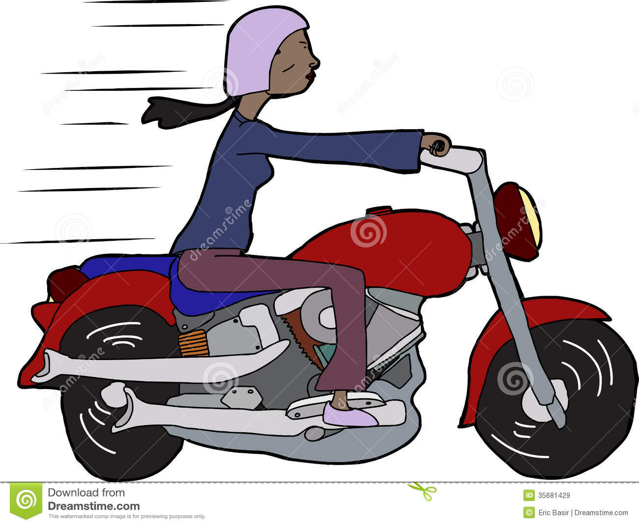Woman Riding Motorcycle Clipart.