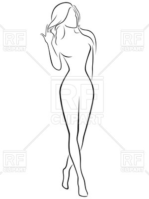 Outline of beautiful woman Vector Image.