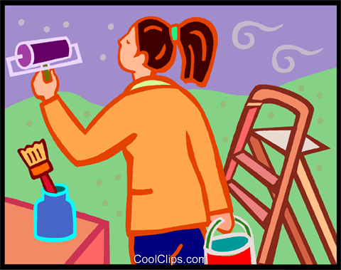 woman painting the walls Royalty Free Vector Clip Art.