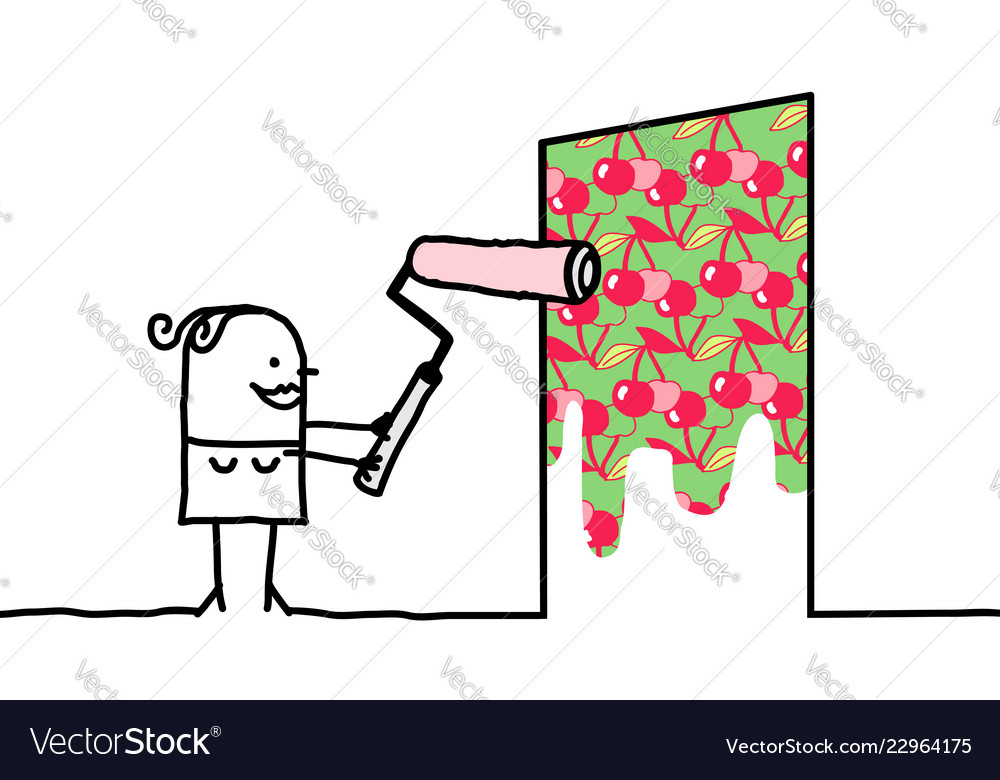 Cartoon woman painting a cherry patterned wall.