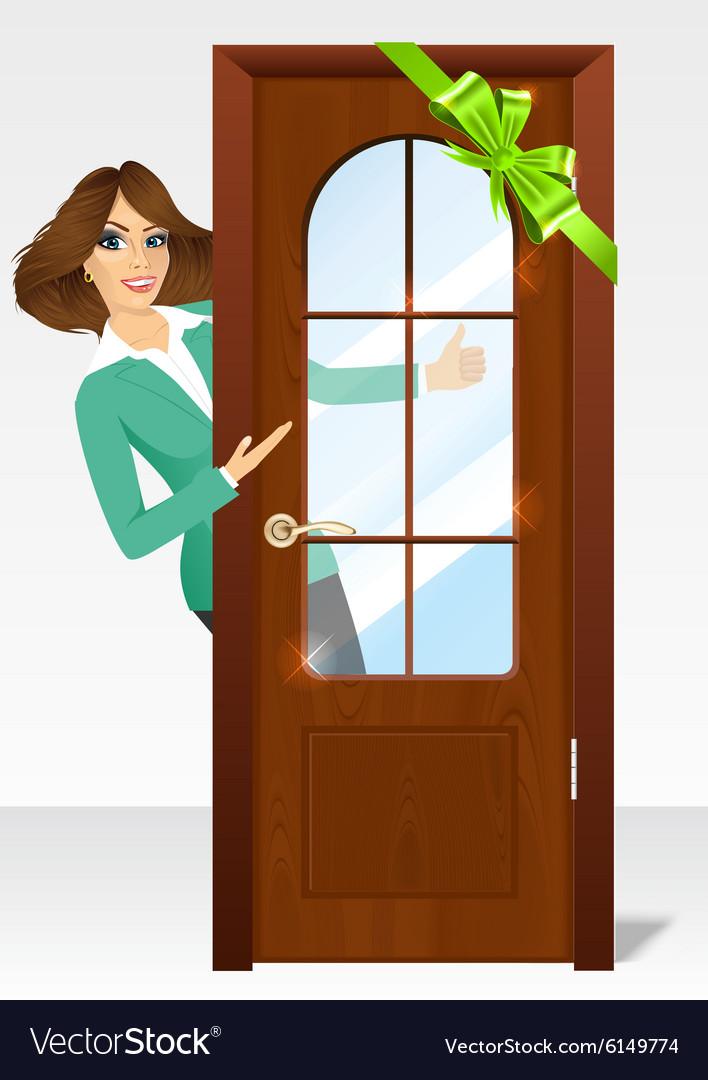 Woman behind the door.
