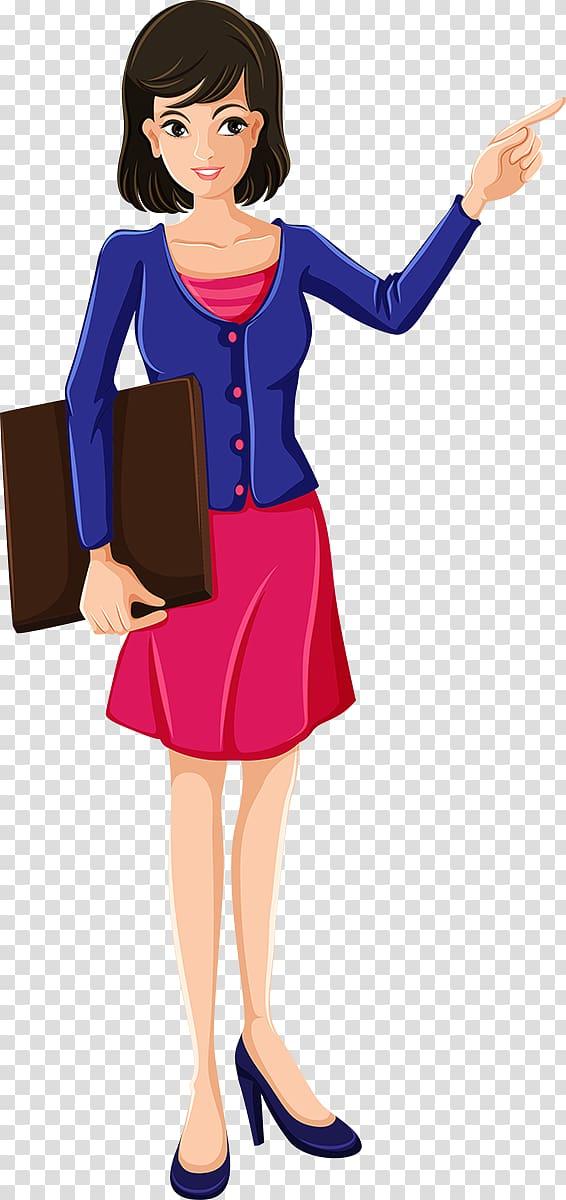 Woman pointing at left side illustration, Teacher Cartoon.