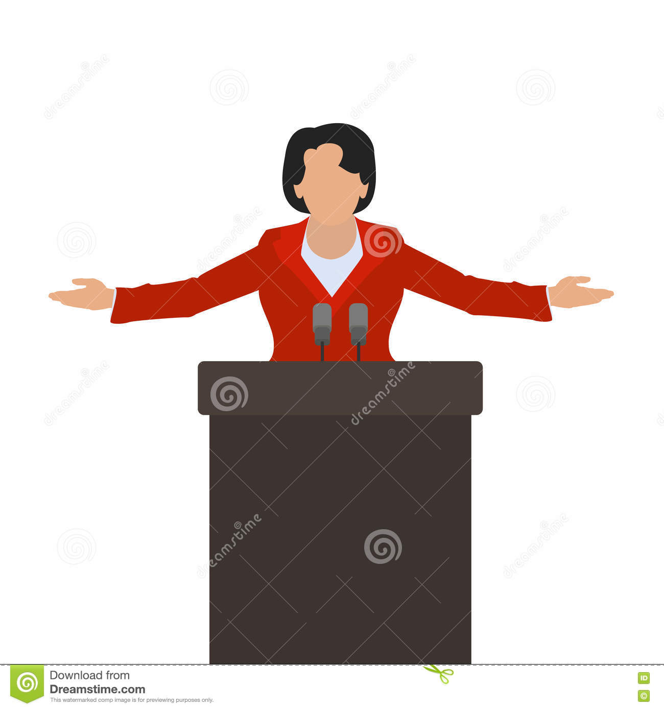 A Woman Politician A Woman Speaker On The Podium Vector Stock.