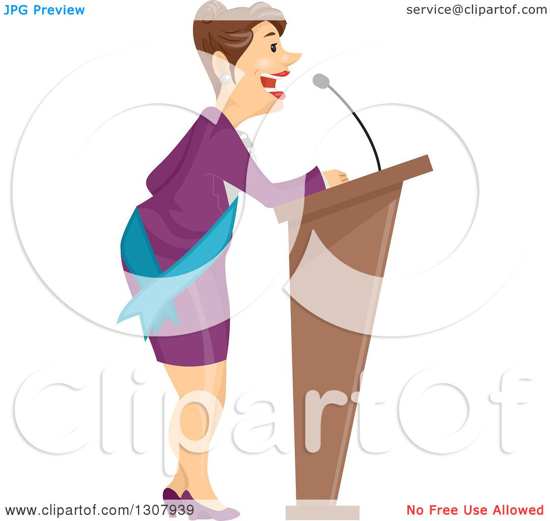 Clipart of a Brunette White Business Woman or Politician Speaking.