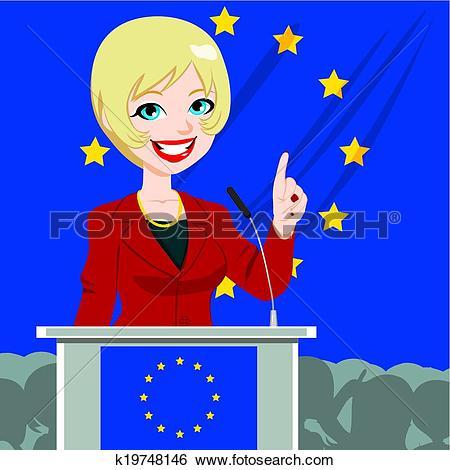 Clip Art of European Politician Woman Candidate k19748146.