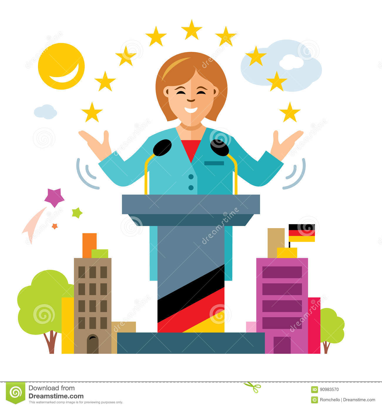 Vector German Policy. Woman Politician. Flat Style Colorful.