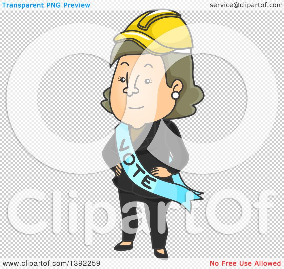 Clipart of a Cartoon Caucasian Female Politician Wearing a Hard.