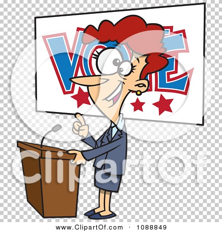 Clipart Female Politician Giving A Speech Before An Election.