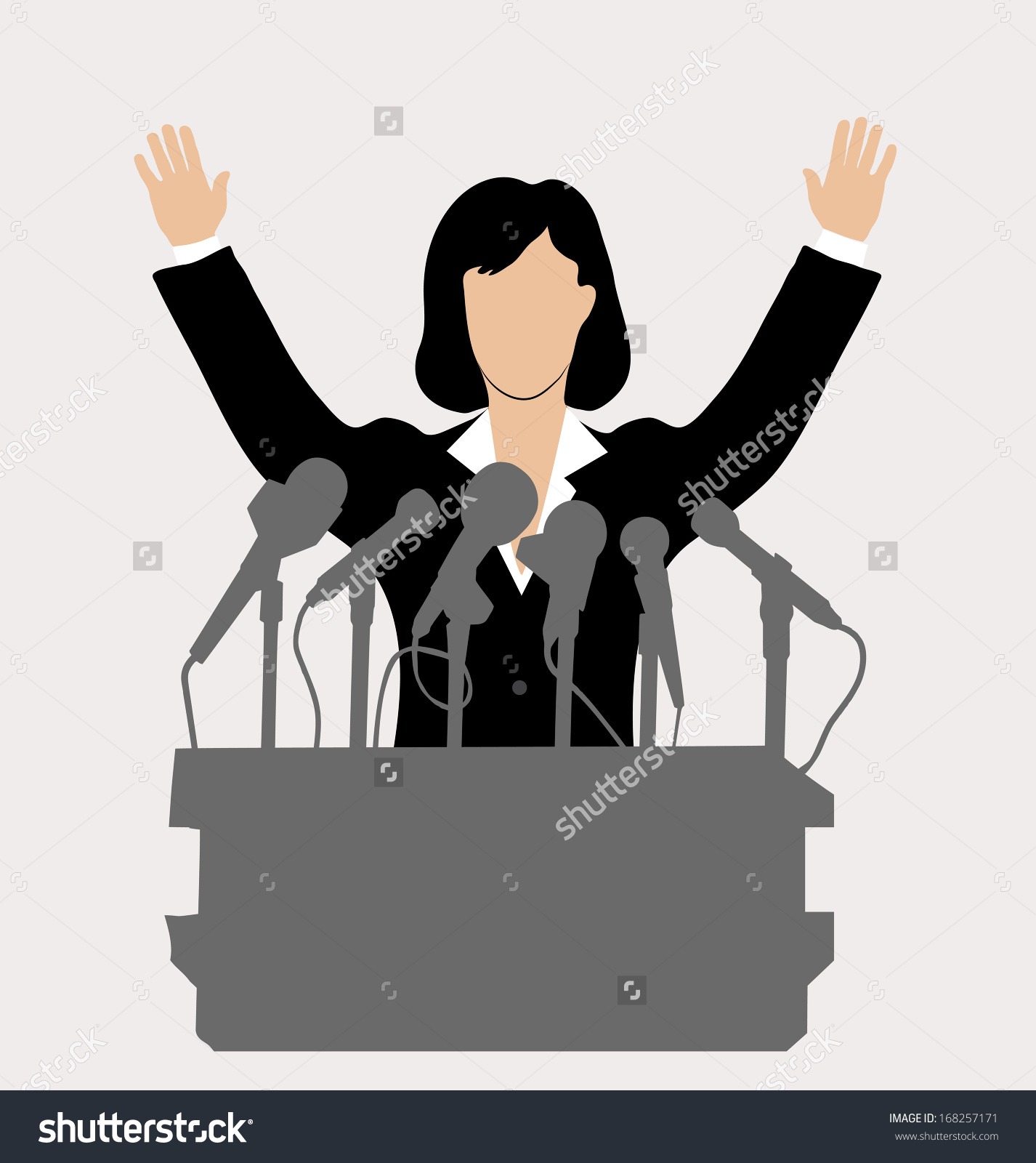 Woman Politician Front Microphone Stock Vector 168257171.