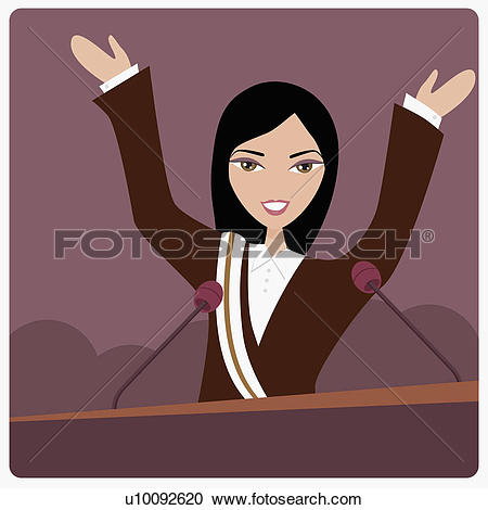 Stock Illustrations of Portrait of a female politician on a.