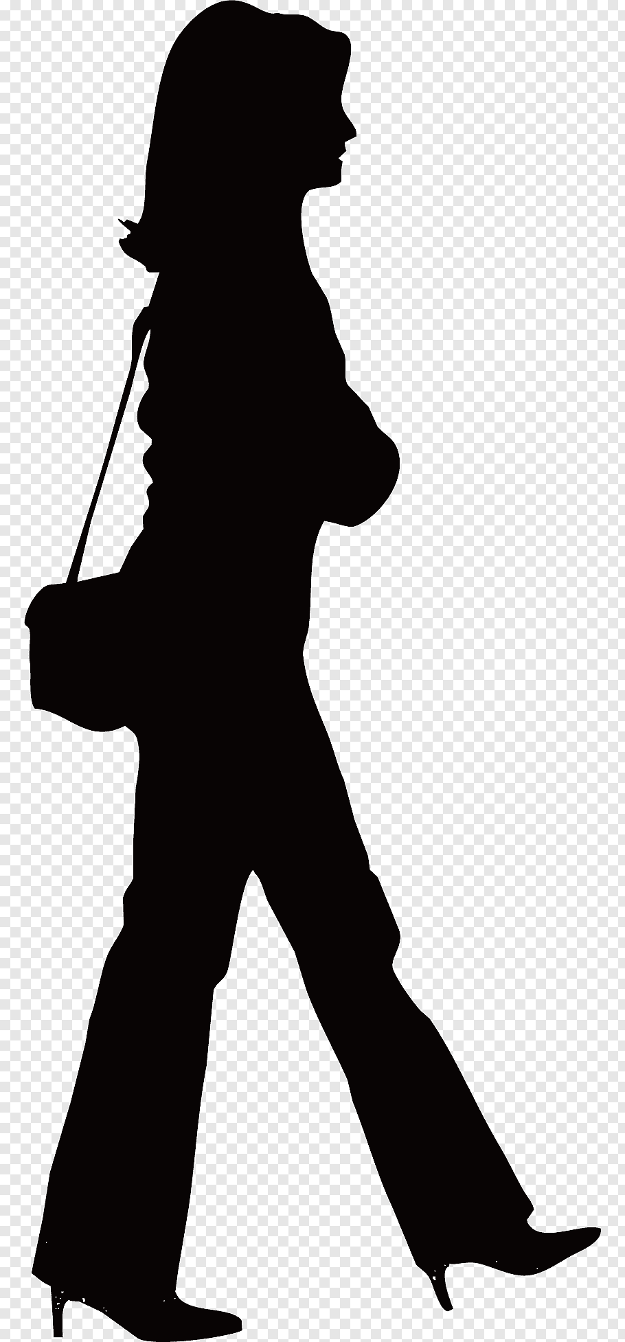 Silhouette of woman carrying sling bag, Silhouette Walking.