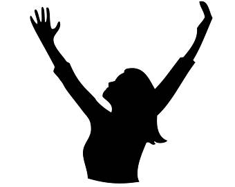 Woman Praising God Silhouette.