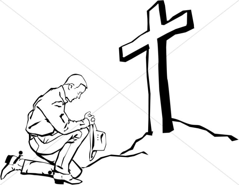 Clipart Man Praying At The Cross.