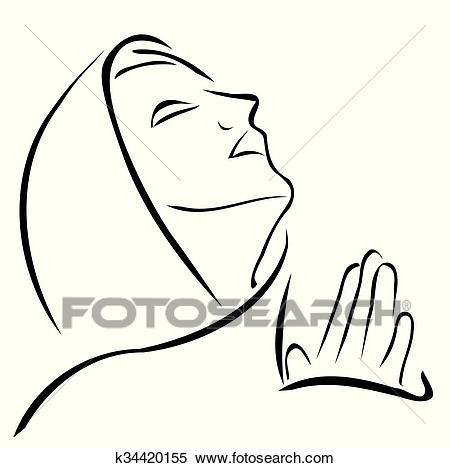 Woman praying looking up at the sky Clipart.