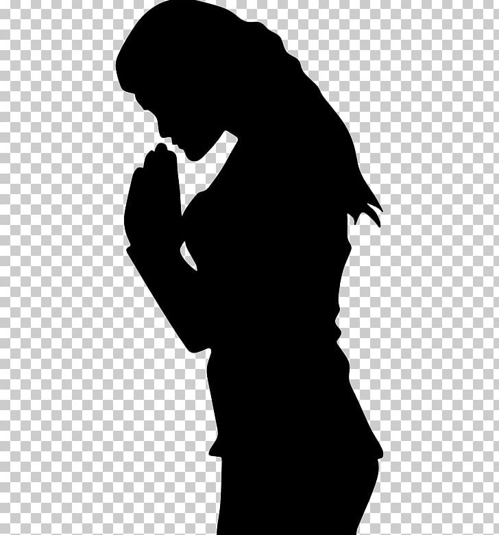 Prayer Woman Praying Hands Silhouette PNG, Clipart, Black, Black And.