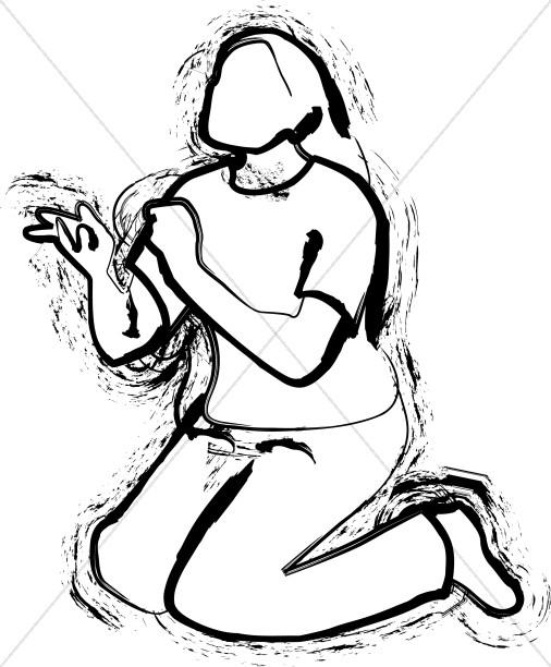 A Kneeling Woman.