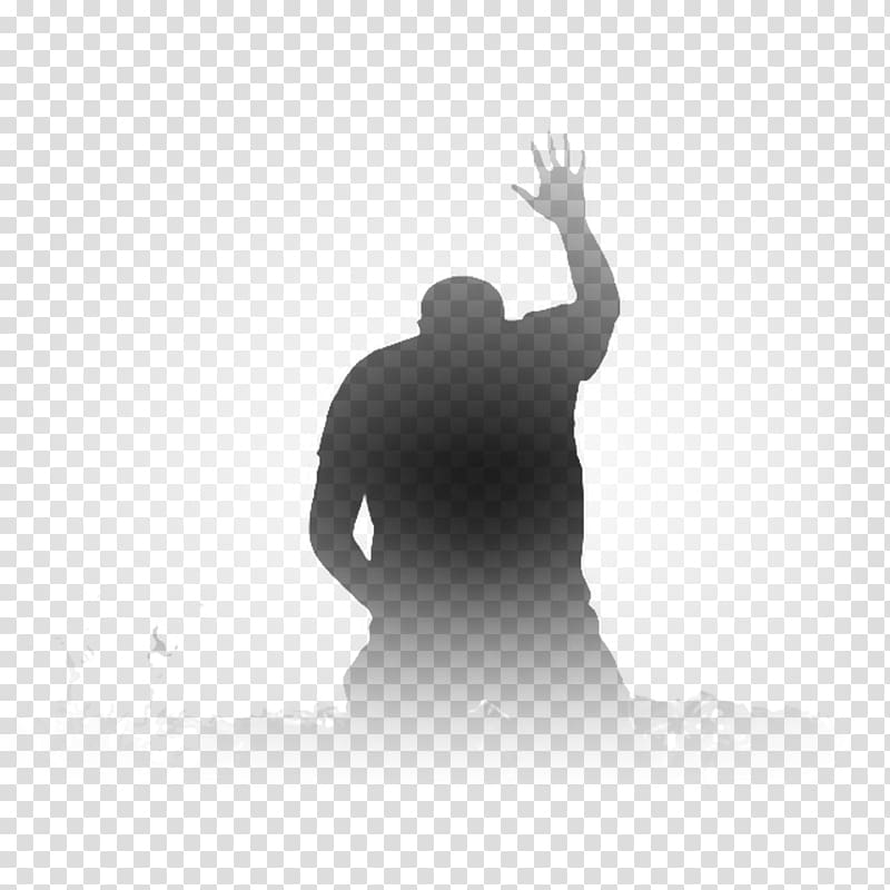 Silhouette of person raising right hand illustration, Prayer.