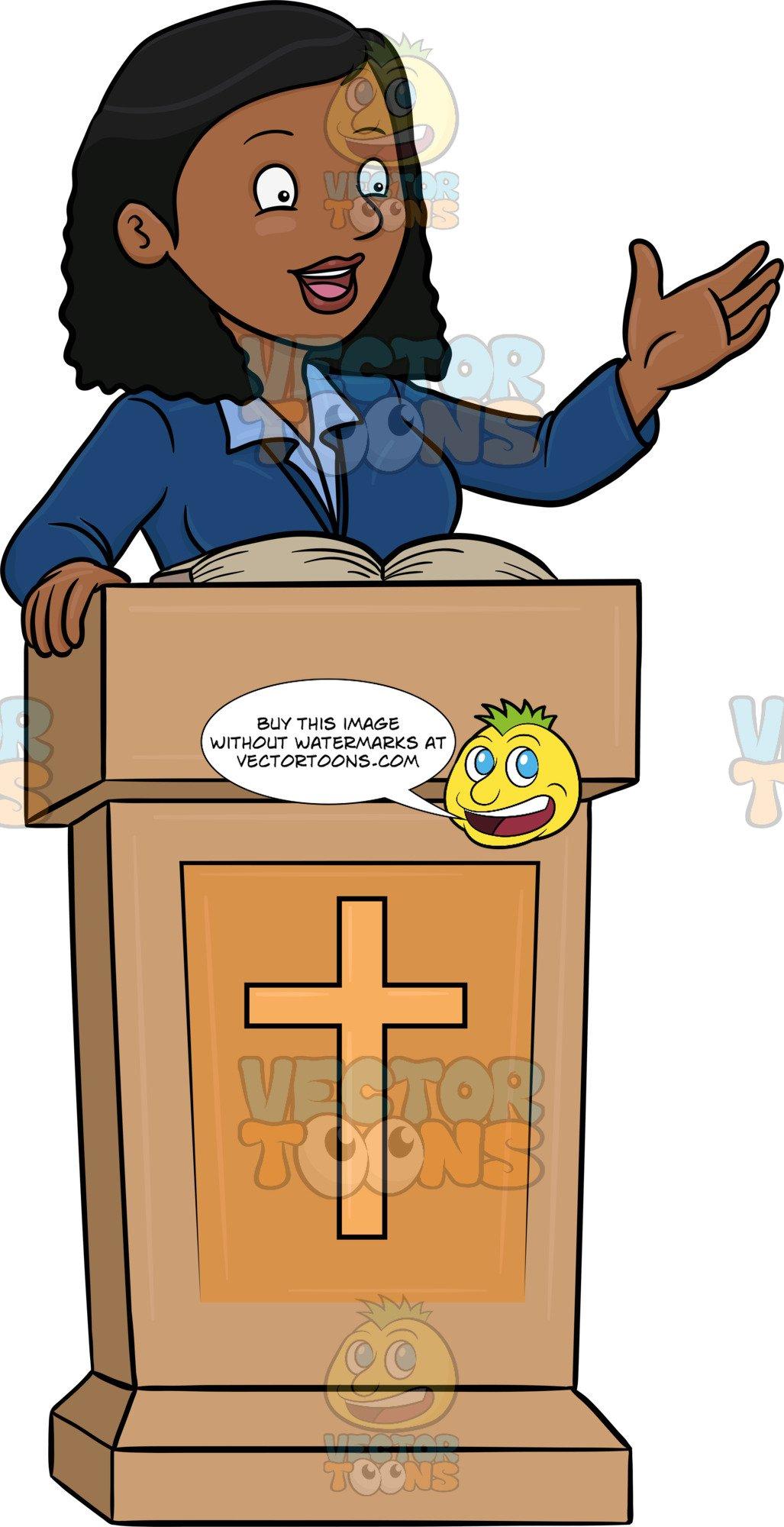A Black Female Preacher Telling The Good News.