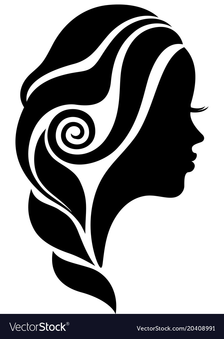 Beautiful woman face in profile silhouette.